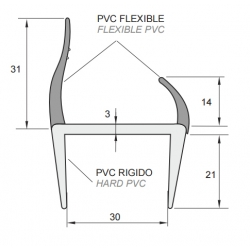 Co-Extruderad Container / Plattformsprofil - 30mm - PVC