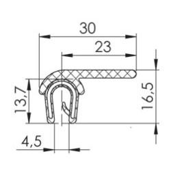 Kantlist 4-5mm med fläns