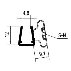 Duschprofil 90° magnetisk dörrprofil