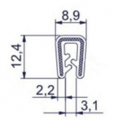 Kantlist 0,5-2,5mm Svart Silikon