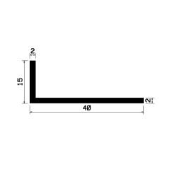 40x15x2 - L-Profil - SVART