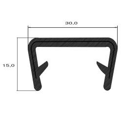 Kantlist - 20-23mm - PVC - SVART