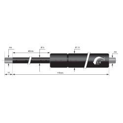 Gasfjäder 40mm 6/15mm