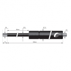 Gasfjäder 60mm 6/15mm
