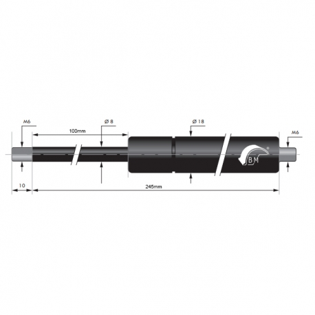 Gasfjäder 100mm 8/18mm