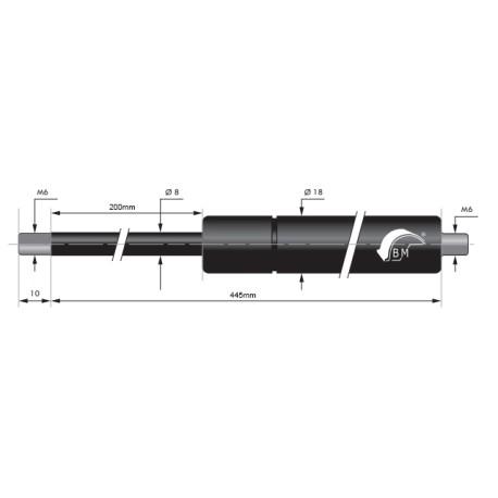 Gasfjäder 200mm 8/18mm