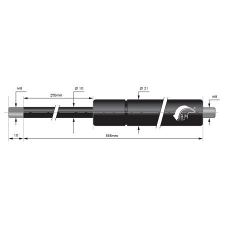 Gasfjäder 250mm 10/21mm
