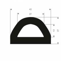 D-formad relingslist - 42x27mm EPDM