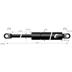 Gasfjäder 300mm 14/27mm