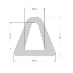 80x75mm D-formad relingslist