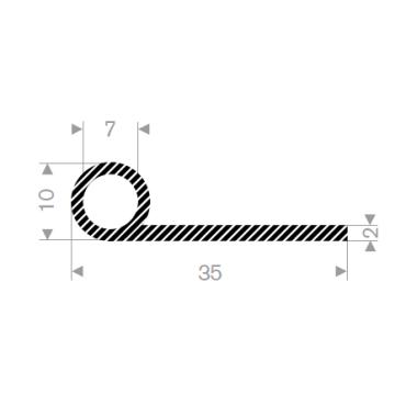 P-Profil - SVAMPGUMMI - 35mm - Ø 10mm